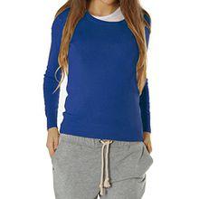 Bestyledberlin Damen Pullover, Feinstrickpulli t90p blau