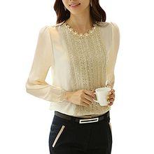 Minetome Damen bluse Spitzenbluse Langarmshirts Perlen Stehkragen Tops Tuniken Oberteil Slim Fit Tuniken ( Beige EU XL )