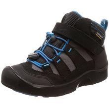 Keen Hikeport Mid Wasserdichter Kinder Outdoor-Stiefel, Keen.Dry Membran für Wasserdichtigkeit und Atmungsaktivität, Schnellschnürung , Schwarz (BLACK /BLUE JEWEL), EU 34 Youth