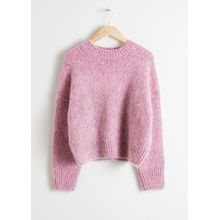 Boxy Wool Blend Sweater - Pink