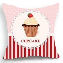 telisha Retro Style Rosa cupcake Streifen Home Decor Werfen Kissenbezug Kopfkissenbezug Sham 45 cm