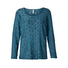 Sheego Damen-Shirt Langarm-Shirt Spitzen-Shirt Long-Shirt petrol (44/46)