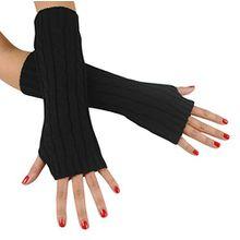 Immerschön Gestrickte Armstulpen zum Lagenlook, fingerlos, Damen Accessory, schwarz, one size