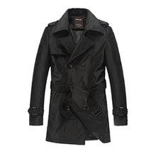 Bestor Fashion Herren Slim Fit Mantel Trenchcoat mit Guertel (M, schwarz)
