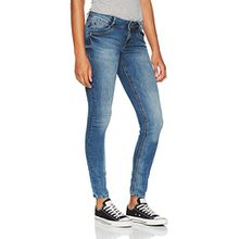 TOM TAILOR Denim Damen Skinny Jeans Jona 2 Button Authentic Blue, Blau (Mid Stone Wash Denim 1052), W32/L30 (Herstellergröße: 32)