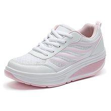 SAGUARO Keilabsatz Plateau Sneaker Mesh Erhöhte Schnürer Sportschuhe Laufschuhe Freizeitschuhe für Damen Rosa 34 EU
