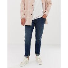 Selected Homme - Gerade geschnittene Stretch-Jeans in Mittelblau - Blau