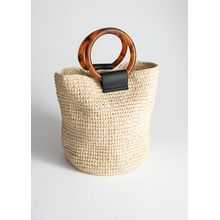 Woven Straw Tote Bag - Beige