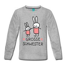 Spreadshirt Grosse Schwester Häschen Hasen Kinder Premium Langarmshirt, 122/128 (6 Jahre), Grau Meliert