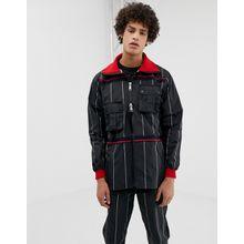 LYPH – Schwarz gestreifte Windjacke mit abnehmbaren Taschen