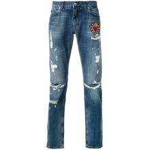 "Dolce & Gabbana Distressed-Jeans mit ""Sacred Heart""-Patch - Blau"