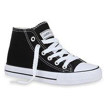 Stiefelparadies Kinder Turn Sneakers Schnür Sport Stoff Schuhe 55961 Schwarz Agueda 30 Flandell