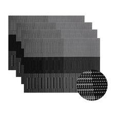 Pawaca Platzsets (4er Set), Vinyl Woven PVC Rutschfest, Hitzebeständig und Abwaschbar, Schmutzabweisend Dekorativ Tischsets Platzdeckchen 45x30cm (Grau + Schwarz)