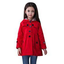 Free Fisher Kinder Mädchen Klassischer Trenchcoat Übergangsjacke mit abnehmbarer Kapuze, Rot, Gr. 104/110 ( Herstellergröße: 110)