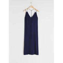 Satin Midi Slip Dress - Blue
