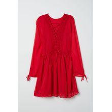 H & M - Chiffonkleid mit Spitze - Red - Damen