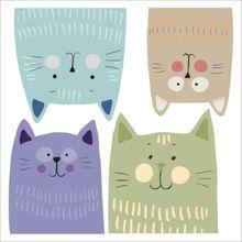 Wand Sticker Multicolour Katzen, M