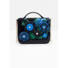 Jacquard Flower Leather Bag - Blue