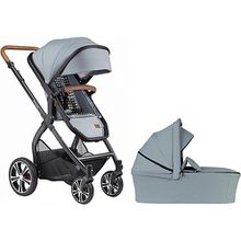 Kombi Kinderwagen FX4 Life inkl. CX3 Wanne & Adapter MC, Gestell schwarz/tabak, Eisblau / Tupfen hellblau