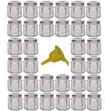 Viva Haushaltswaren 32 x Mini Einmachglas 47 ml mit silberfarbenem Deckel, sechseckige Glasdosen als Marmeladengläser, Gewürzdosen, Gastgeschenk etc. verwendbar (inkl. Trichter Ø 12,3 cm)
