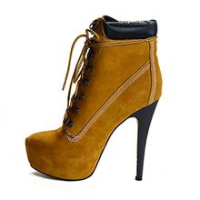 Onlymaker Damen Pumps Stiletto Stiefel High Heels Kurzschaft Stiefelette Boots Schuhe mit Plateau Gelb EU40