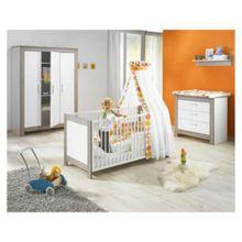 Geuther Komplett Kinderzimmer MARLENE, 3-tlg. (Kinderbett, Wickelkommode und 3-türiger Kleiderschrank), Wenge Lehm/Weiß weiß