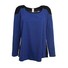 Sheego Longsleeve Shirt Langarmshirt Sweat Damen Langarm Plusgröße Lagenlook, Farbe:Blau;Damengrößen:48