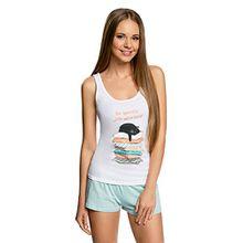 oodji Ultra Damen Pyjama Set aus Bedruckten Shorts und Trägertop, Weiß, DE 36 / EU 38 / S