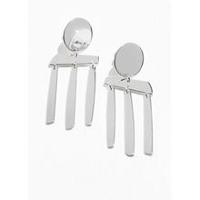 Abstract Hanging Earrings - Silver