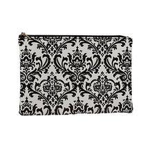 SIX Kosmetiktasche, Make-up Tasche mit Ornamenten, Vintage, schwarz weiß (129-610)