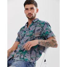 Tom Tailor - Leinenhemd mit tropischem Druck - Blau