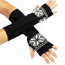 caripe 1 Paar fingerlose Damen Strick Armstulpen Armwärmer (flinga schwarz-weiß)