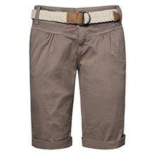 Fresh Made Damen Bermuda-Shorts im Chino Style mit Flecht-Gürtel | Elegante kurze Hose in Pastellfarben middle-brown L