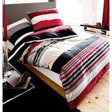 Kaeppel Biber Bettwäsche Set Prime Time Rot Schwarz Weiß Streifen, Größe:200x200cm Bettwäsche