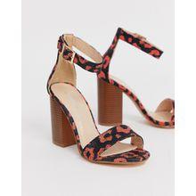 Glamorous - Sandalen mit hohen Blockabsatzen, orangefarbenem Leopardenfellmuster und eckiger Zehenpartie - Orange