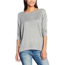 ONLY Damen Langarmshirt Onlelcos 4/5 Solid Top JRS Noos, Grau (Light Grey Melange), 36 (Herstellergröße: S)