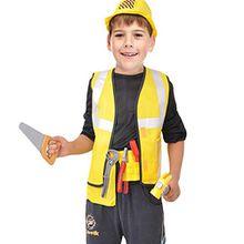 NiSeng Bauarbeiterkostüm faschingskostüme kinder bauarbeiter kostüm halloween Cosplay Kostüme Party Bekleidung Gelb S(Größe 95-110cm)