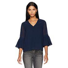 VERO MODA Damen Bluse Vmfreya 3/4 Top, Blau (Navy Blazer Navy Blazer), 36 (Herstellergröße: S)