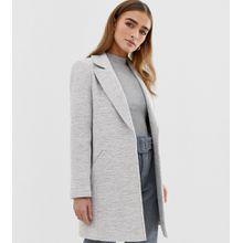 ASOS DESIGN - Petite - Strukturierter Mantel mit schmalem Schnitt - Grau