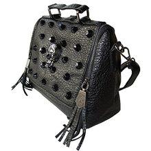 Rockabilly Punk Rock Baby Tasche Schwarz Big Diamante Skull Totenkopf Handtasche Bag
