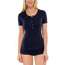 Schiesser Damen Unterhemd Shirt 1/2 Arm, Gr. 42 (Herstellergröße: 042), Blau (nachtblau 804)
