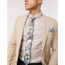Religion – Krawatte und Einstecktuch mit Totenkopf- und Blumenprint-Grau
