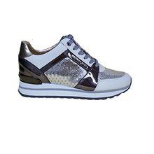 Michael Kors Damen Schuhe Sneakers Billie Trainer Lasered Mirroror Silv OP Wht