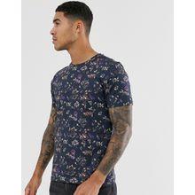 Selected Homme - Schwarzes T-Shirt mit grafischem Blumenprint - Schwarz
