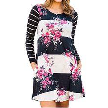 Hibluco Damen Casual Langarm Streifen BlumenTunika A-Linie Kleid mit Taschen