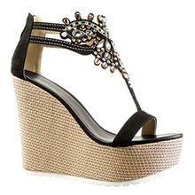 Angkorly Damen Schuhe Sandalen - T-Spange - Plateauschuhe - Schmuck - Bestickt Keilabsatz High Heel 13 cm - Schwarz 168-1 T 40