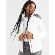 Tommy Jeans - Wattierte Jacke aus recyceltem Material mit Kapuze aus Kunstfell - Weiß