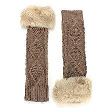 Strickwolle Armstulpen Pulswärmer Handschuhe fingerlos Stulpen Damenhandschuhe Winterhandschuhe (Khaki)