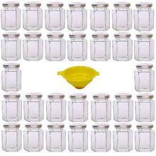 Viva Haushaltswaren 30 x kleines Einmachglas 110 ml mit silberfarbenem Deckel, sechseckige Glasdosen als Marmeladengläser, Gewürzdosen, Gastgeschenk etc. verwendbar (inkl. Trichter)