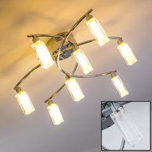 Deckenleuchte 8-flammig aus Metall Chrom – Runde Zimmerlampe für Wohnzimmer – Schlafzimmer – Flur